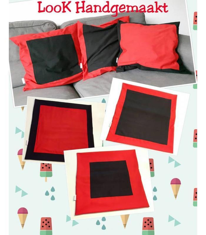 Kussenhoes Zwart/Rood