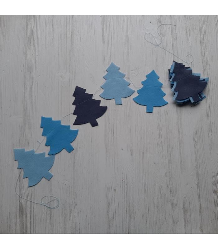 Vilten slinger Kerstboom Blauw