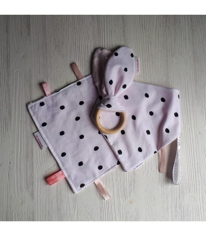 Kraamset Minky fleece roze / Wit stip