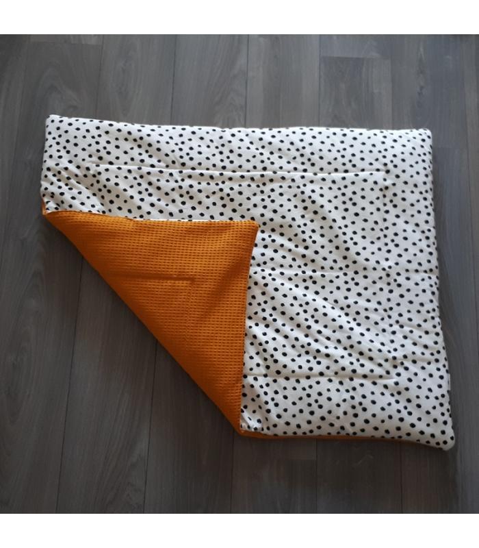 Boxkleed Okergele wafelstof / Wit tricot dots