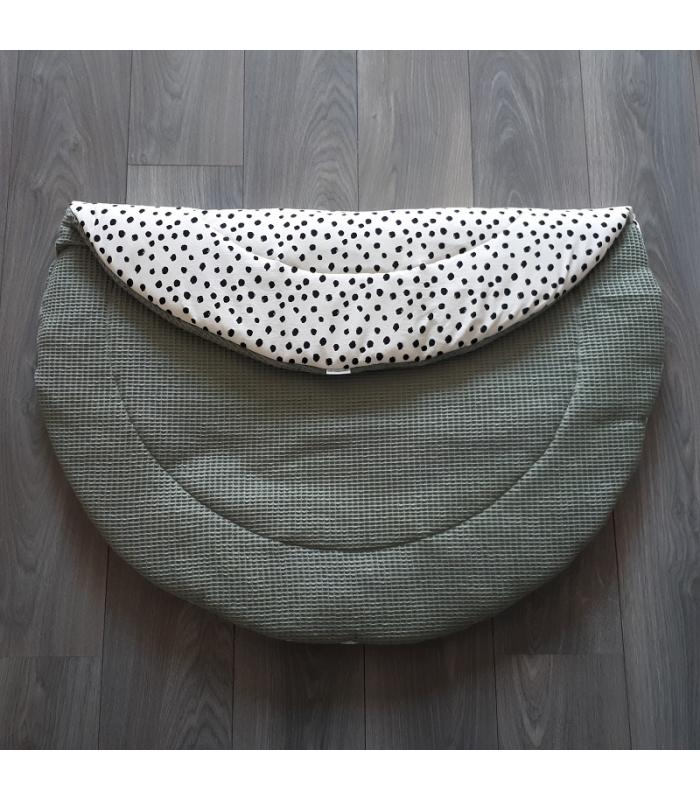 Boxkleed Rond Wit tricot Dots / Oud groene wafelstof