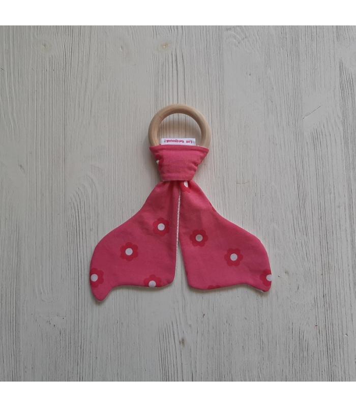 Bijtring hout Roze Bloem