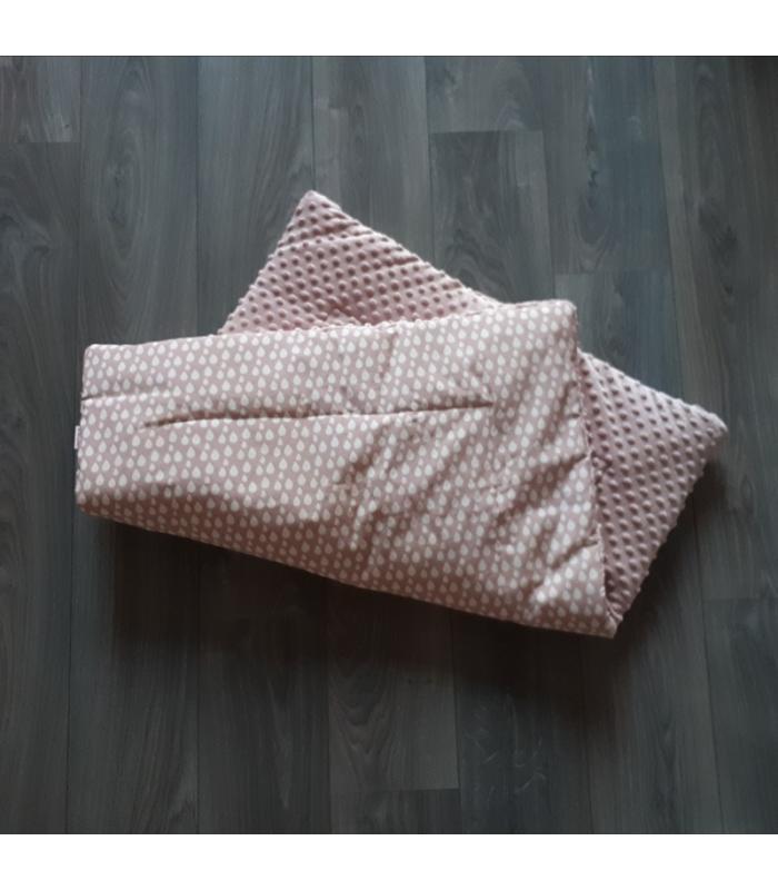 Boxkleed Roze minky fleece /  Witte druppel
