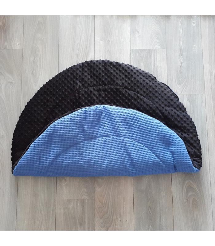 Boxkleed Rond Blauwe wafelstof / Zwarte minky fleece