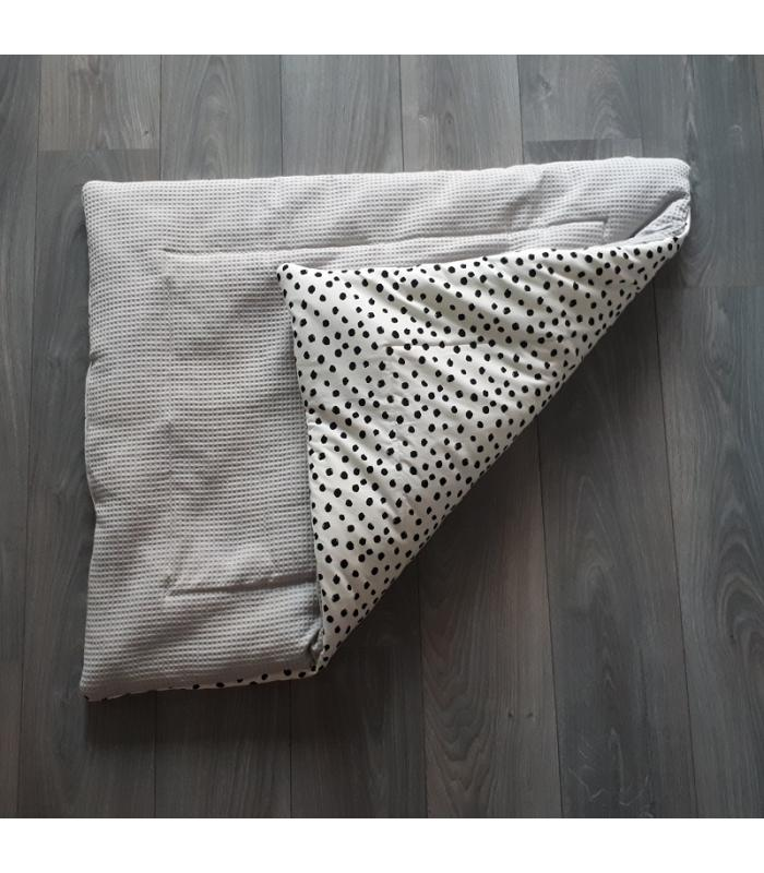 Boxkleed Grijze wafelstof / Wit tricot dots