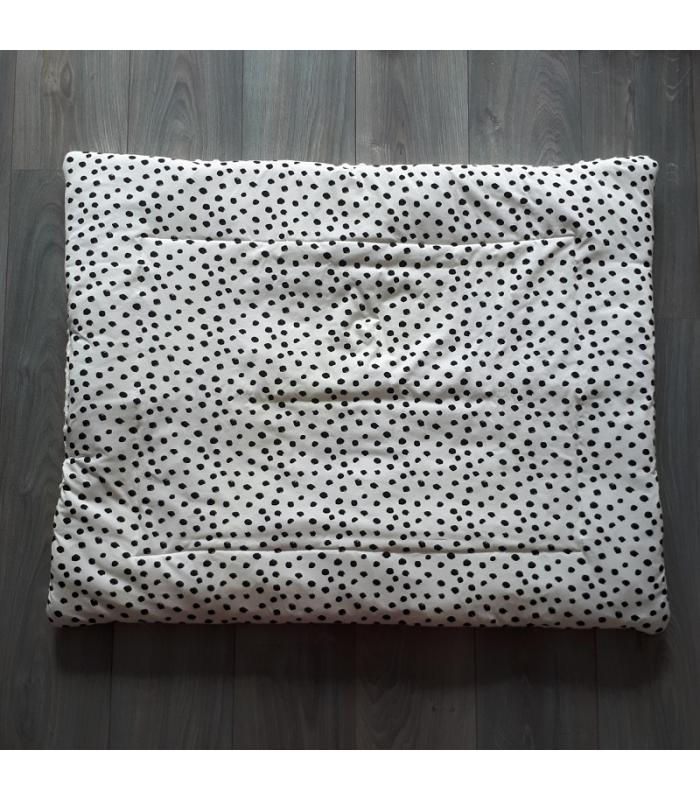 Boxkleed Wit minky fleece / Wit tricot dots
