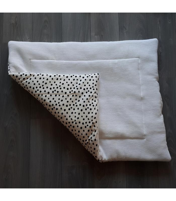 Boxkleed Wit tricot dots/ Witte wafelstof