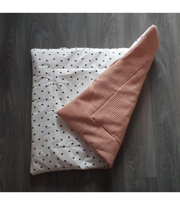 Boxkleed Wit met zwarte stippen / Oud roze wafelstof