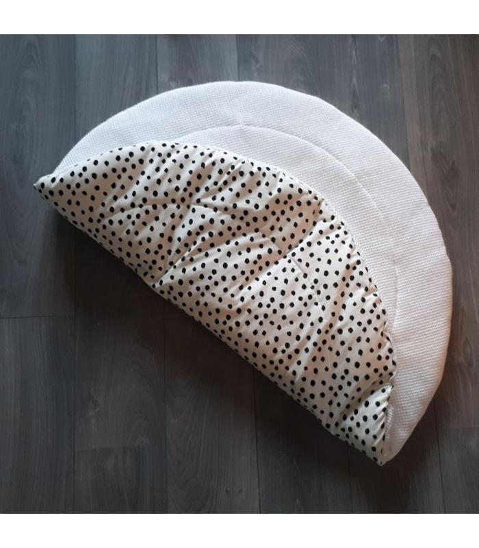 Boxkleed Rond Wit tricot Dots / Witte wafelstof