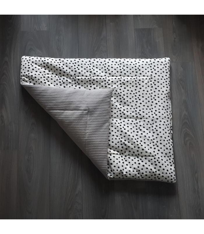 Boxkleed Grijze wafelstof / Wit tricot dots
