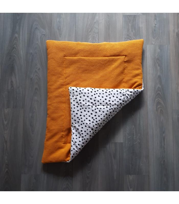 Boxkleed Okergele wafel / Wit tricot dots