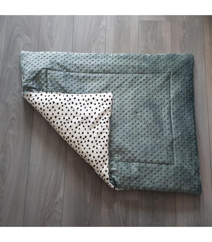 Boxkleed Oud groene minky fleece / Wit tricot dots