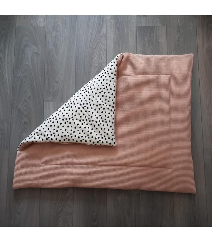 Boxkleed Oud roze  wafelstof / Wit tricot dots
