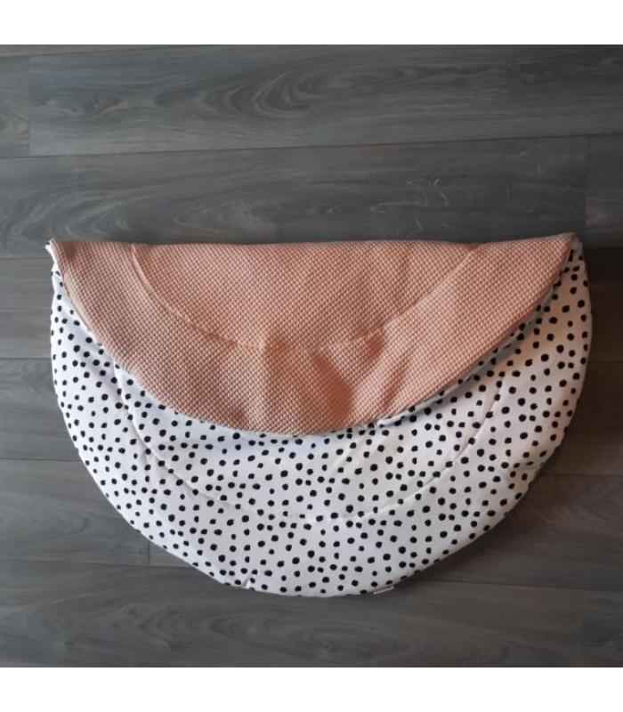 Boxkleed Rond Oud roze wafel / Wit tricot dots