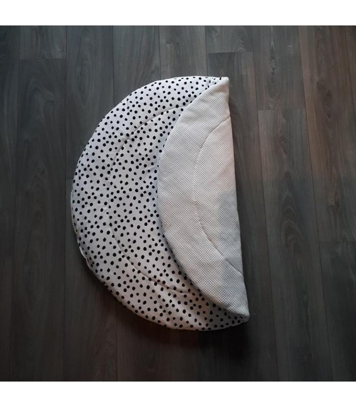 Boxkleed Rond Witte wafelstof / Wit tricot dots