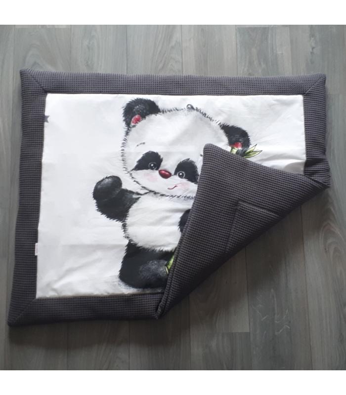 Boxkleed Panda / Wafelstof grijs