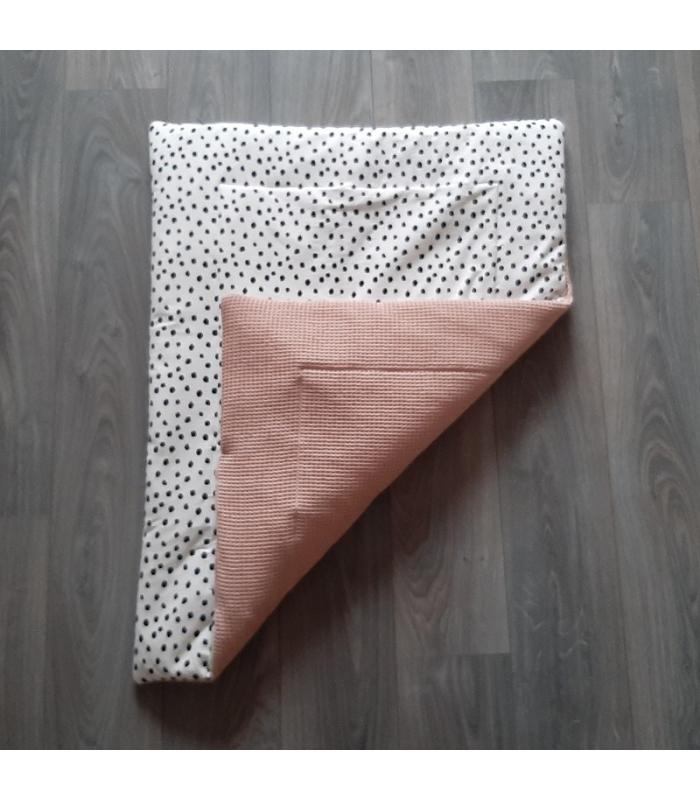 Boxkleed Wit tricot dots / Oud roze wafelstof
