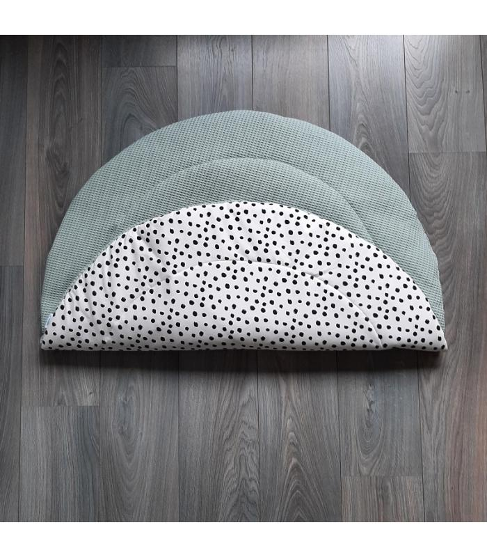 Boxkleed Rond Oud groene wafelstof / Wit tricot Dots