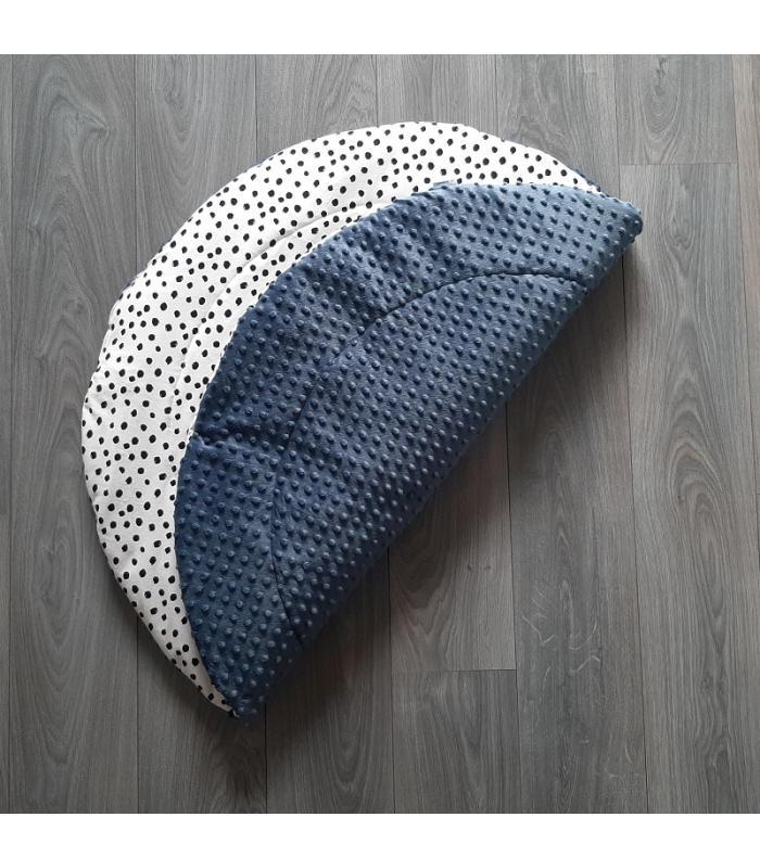 Boxkleed Rond Jeans minky fleece / Wit tricot Dots