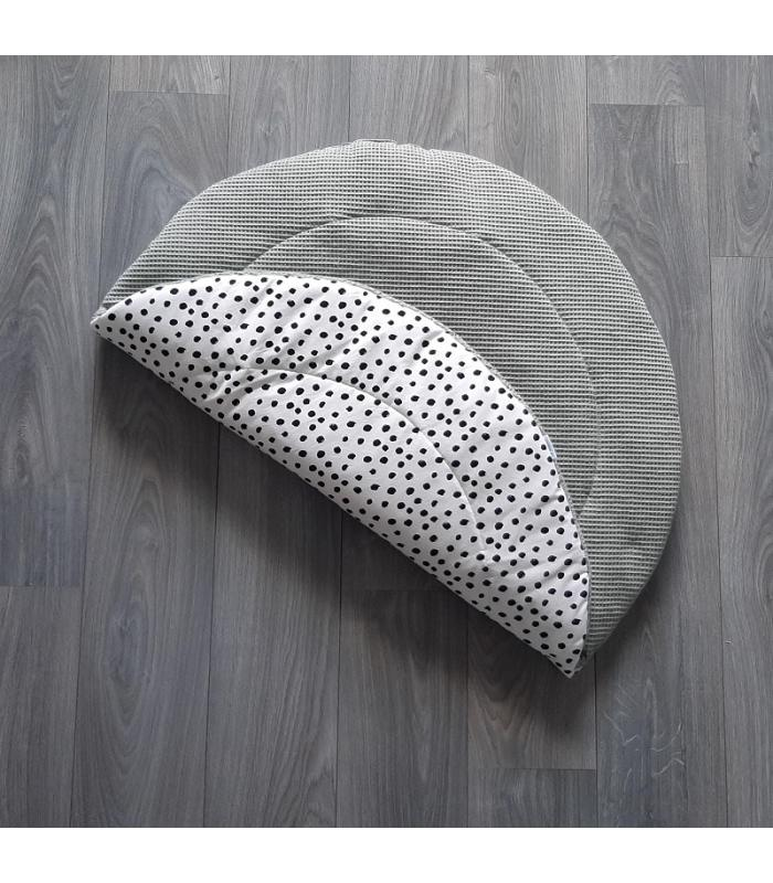 Boxkleed Rond Oud groen wafelstof / Wit tricot dots