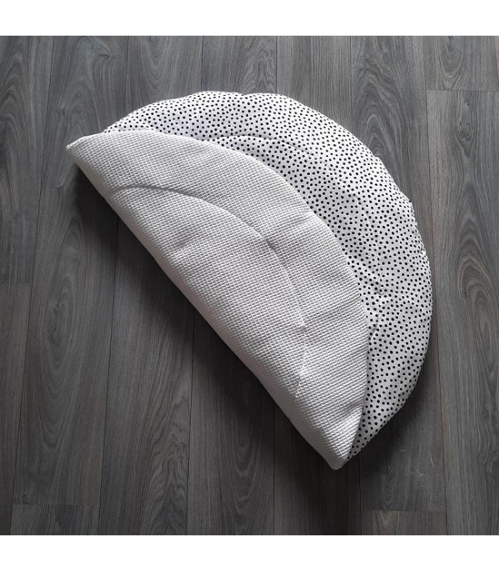 Boxkleed Rond Witte wafelstof / Wit tricot kleine dots