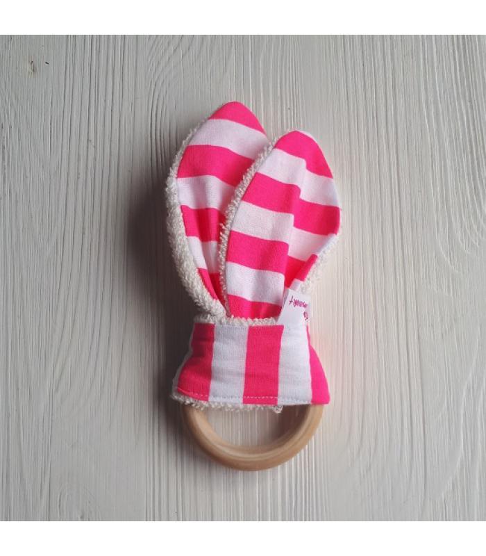 Bijtring hout streep wit/roze