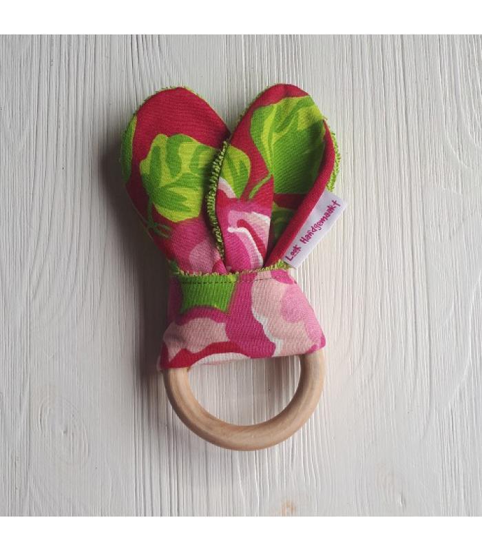 Bijtring hout bloem roze
