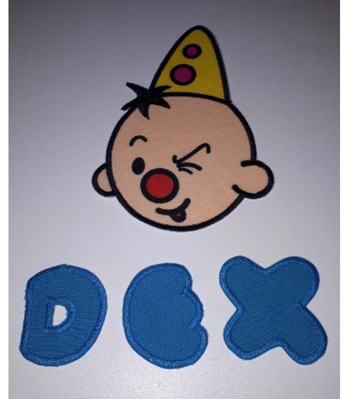 Strijkapplicatie Bumba knipoog en naam Dex