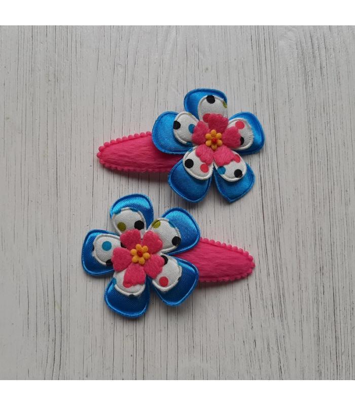 Haarknipjes Bloem blauw roze