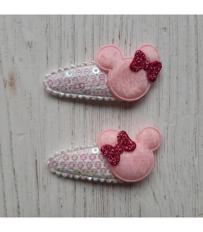 Haarknipjes Minnie mouse roze