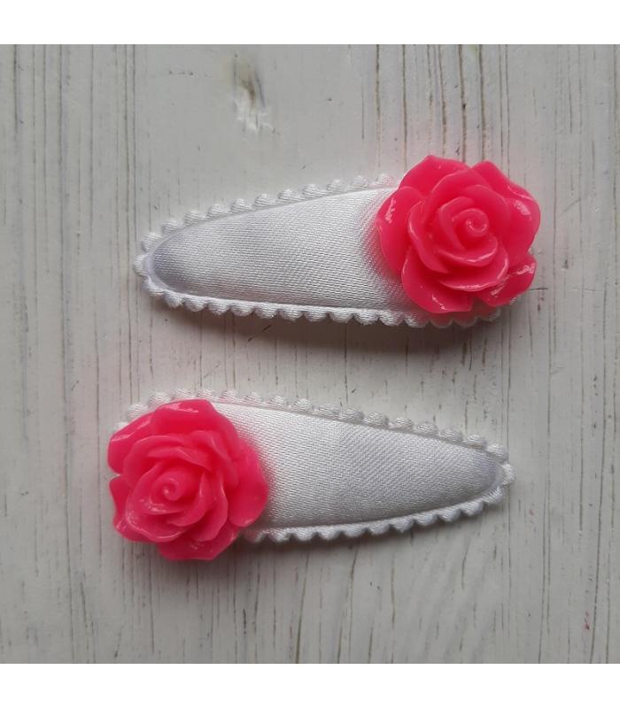 Haarknipjes Wit met roze bloem