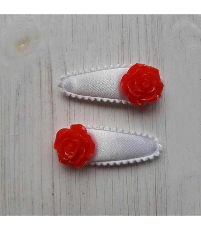Haarknipjes Wit met rode bloem