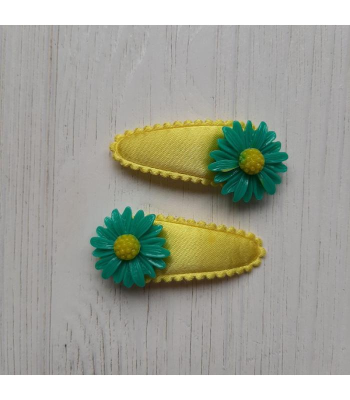 Haarknipjes Geel met groen bloem