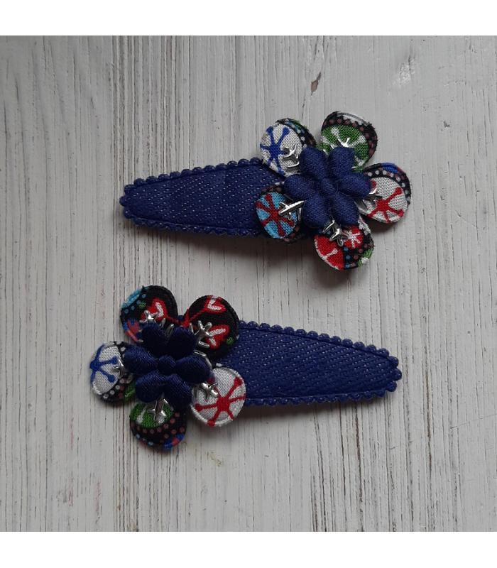 Haarknipjes Bloem blauw kristal