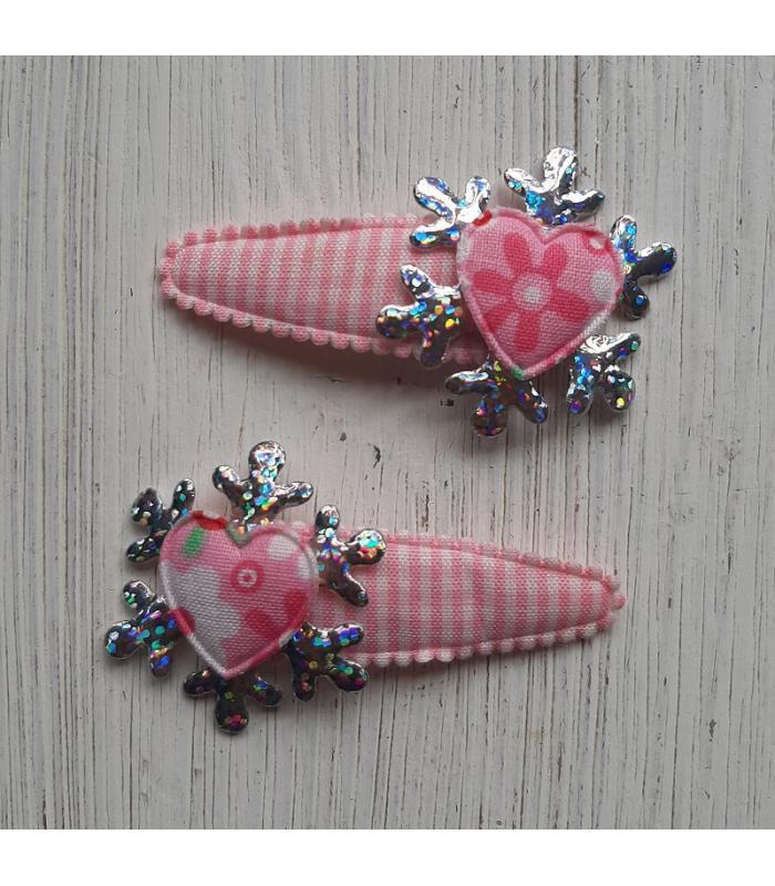 Haarknipjes Bloem roze ijskristal