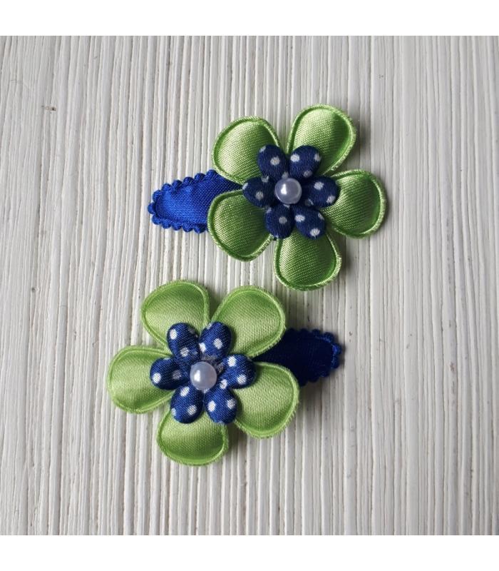 Haarknipjes Bloem Groen Blauw