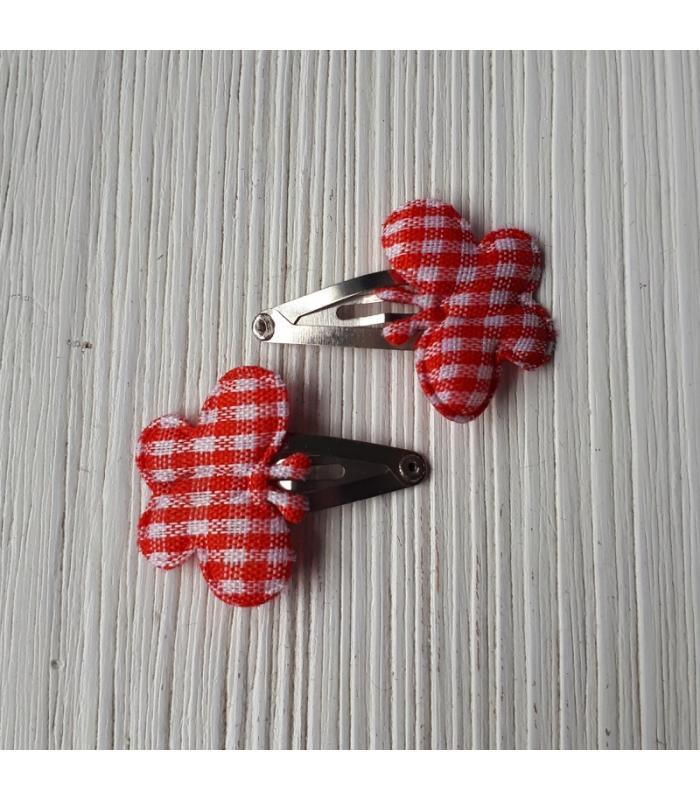 Haarknipjes Vlinder Rood Ruit