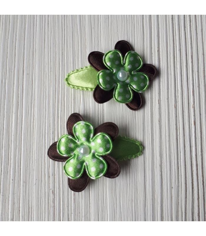 Haarknipjes Bloem Zwart Groen