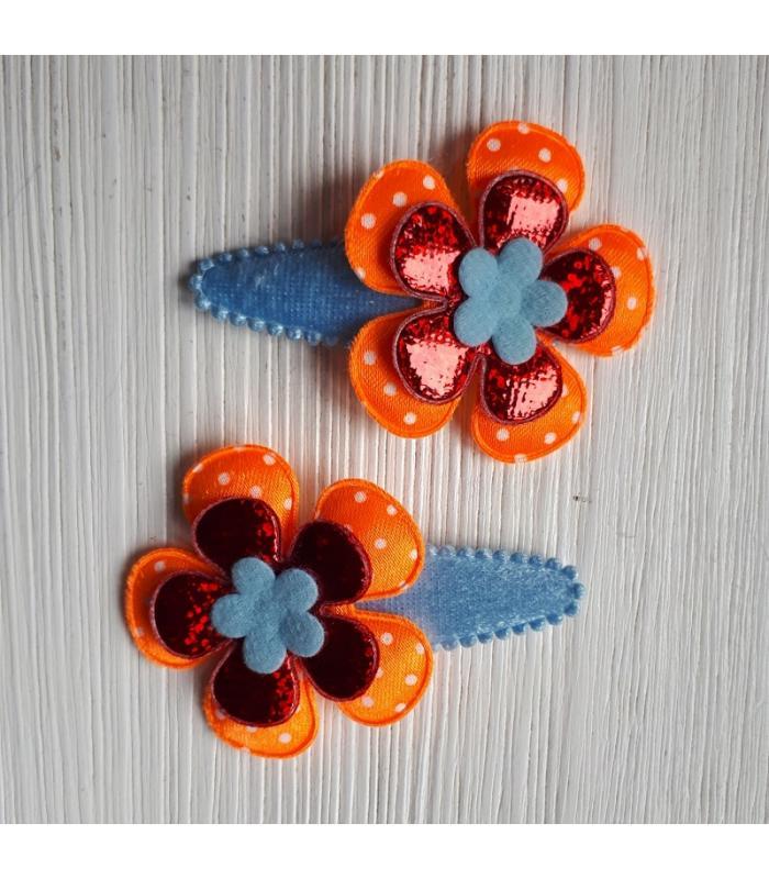 Haarknipjes Oranje blauw rood