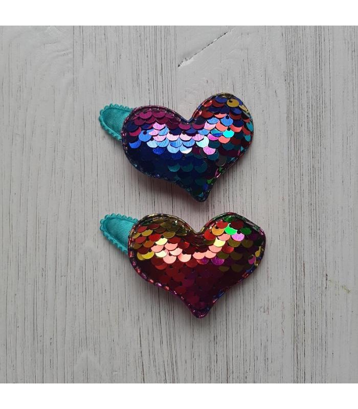 Haarknipjes Hart Regenboog Turquoise