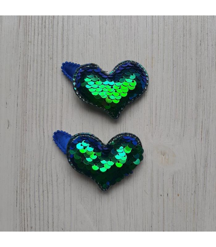 Haarknipjes Hart Parelmoer Blauw groen