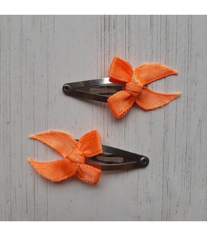 Haarknipjes oranje strikjes