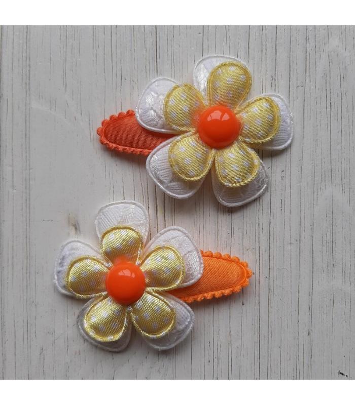 Haarknipjes Wit geel oranje bloem