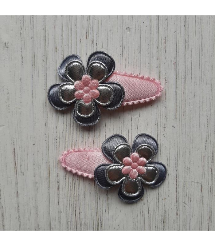 Haarknipjes Zilver roze
