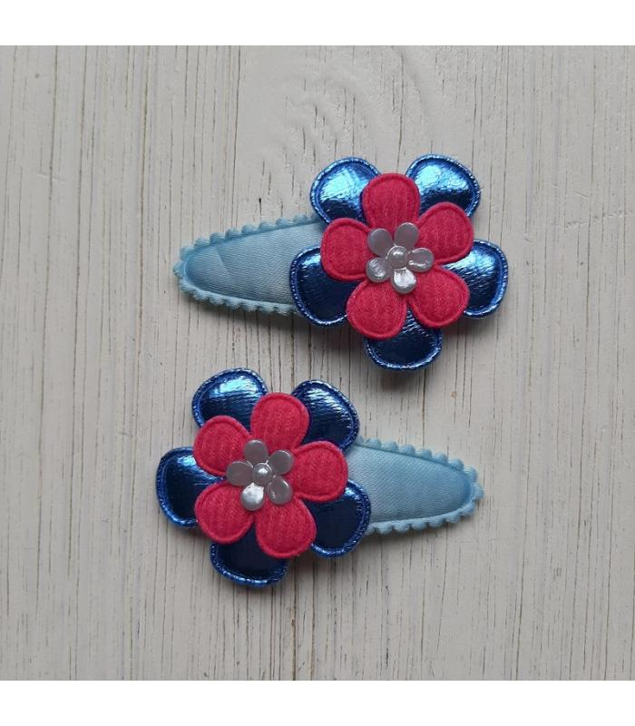 Haarknipjes Blauw roze bloem