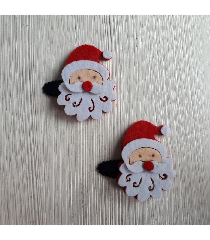 Haarknipjes Kerstman zwart