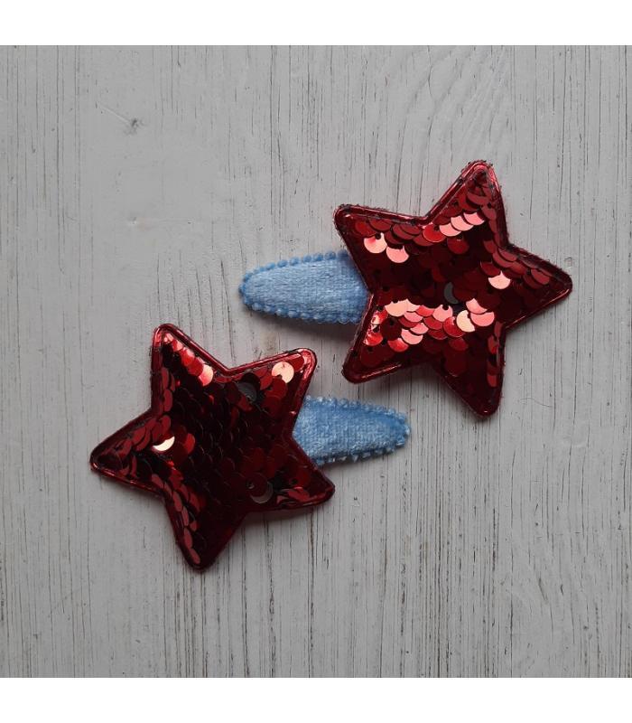 Haarknipjes Ster Rood blauw