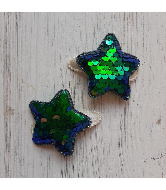 Haarknipjes Ster Parelmoer groen blauw