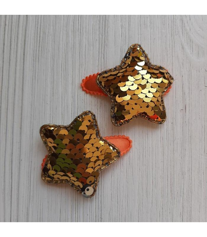 Haarknipjes Ster Goud oranje
