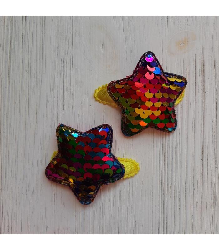 Haarknipjes Ster Regenboog geel